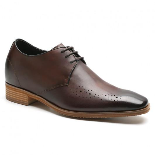 CHAMARIPA mannen schoenen met ingebouwde hak Nette schoenen voor heren Bruin 7 CM Langer