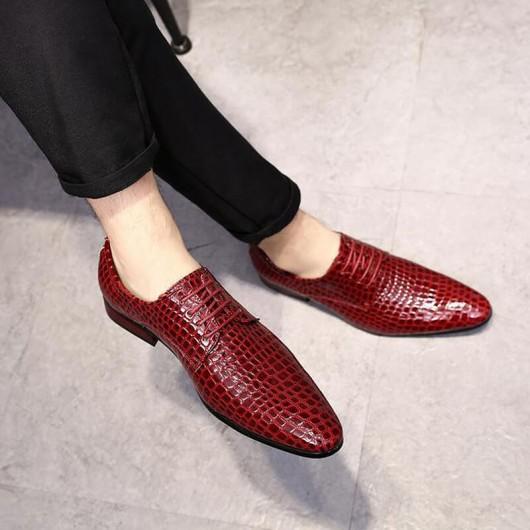Chamaripa sverhoogde schoenen mannen scarpe oxford stringate modello coccodrillo di lusso rosse 7 CM