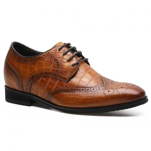 Chamaripa verhoogde schoenen mannen bruine brogue schoenen met verhoogde hak 7 CM