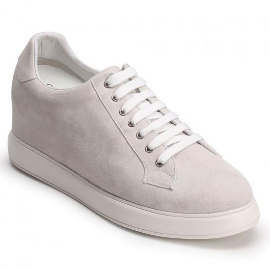CHAMARIPA verhogende schoenen witte suède leren sneakers heren schoenen met hoge hak 10CM