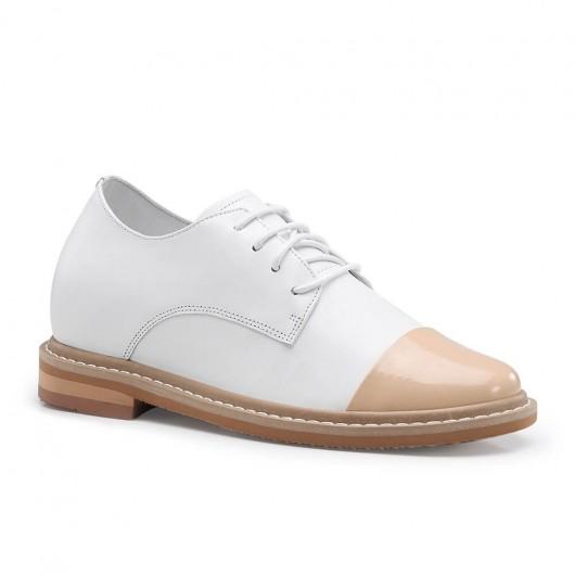 CHAMARIPA dames verhogende schoenen verborgen hak casual schoenen dames wit kalfsleer 7CM
