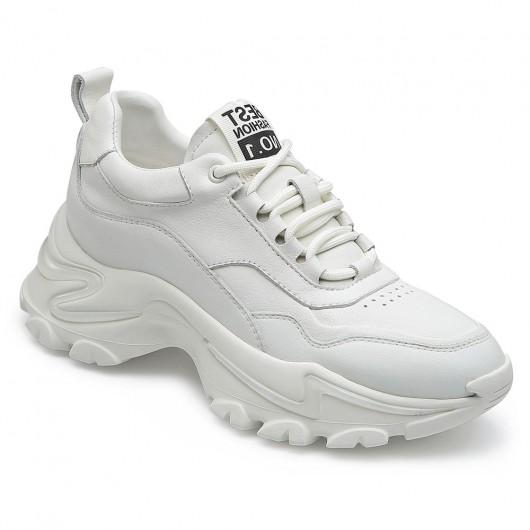 CHAMARIPA dames schoenen met verborgen hak - verhoogde schoenen -witte leren sneakers 7 CM
