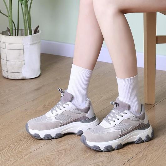 CHAMARIPA dames schoenen met ingebouwde hak - schoenen met verhoogde hiel - grijze chunky sneakers voor dames 7 CM