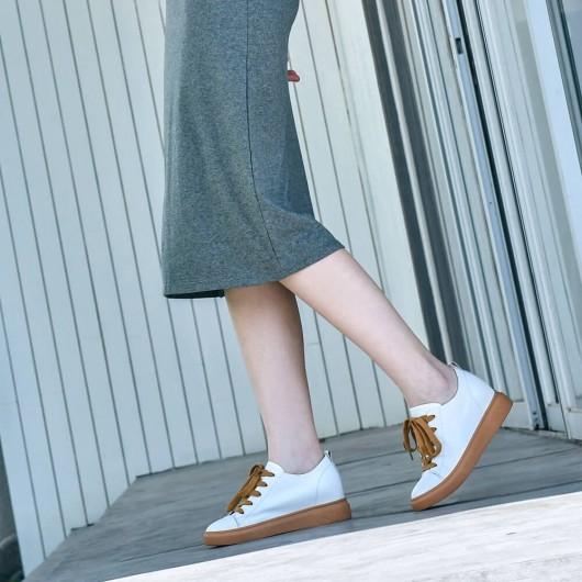 CHAMARIPA verhoogde schoenen damessneakers dames schoenen met verborgen hak wit kalfsleer 7CM