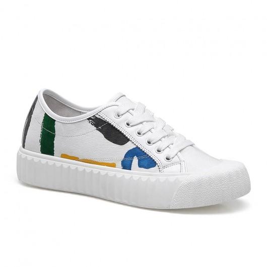 CHAMARIPA verhoogde schoenen voor dames sneakers met verborgen sleehak wit kalfsleer 5CM