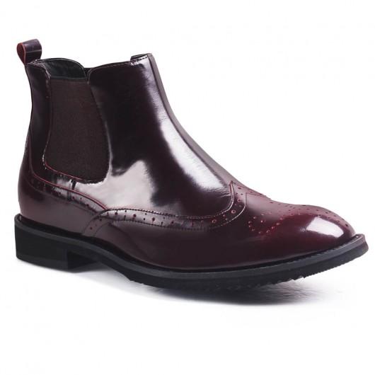 Chamaripa Verhoogde Schoenen wijnrood heren schoenen met hoge hak 6 CM Langer