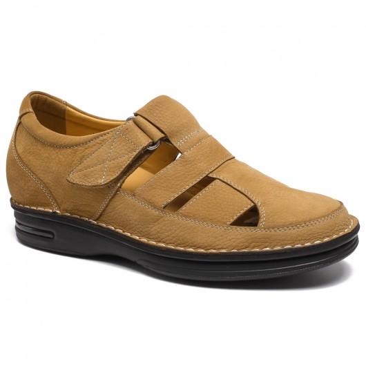 Nubuck leer gele visser lift sandalen schoenen worden groter 7 CM