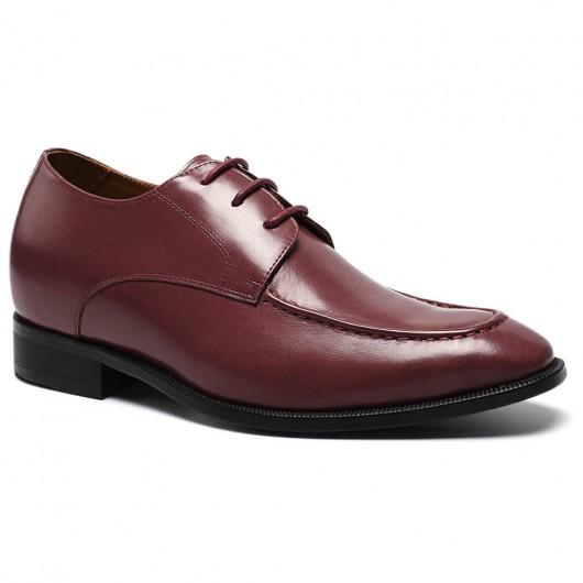 Chamaripa Schoenen met Verhoogde Hiel wijnrood handgemaakte schoenen rotterdam 7 CM Langer