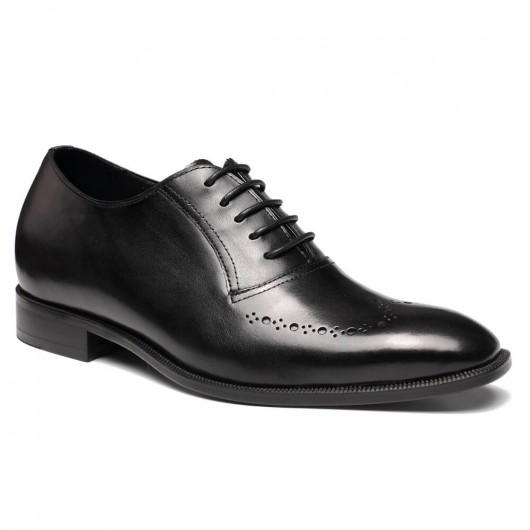 Chamaripa handgemaakte italiaanse schoenen zwart  heren schoenen met verborgen hak 7 CM Langer