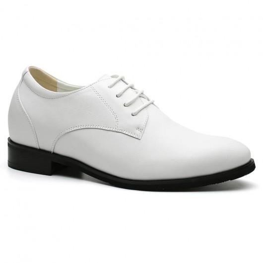 Chamaripa Schoenen met Verhoogde Hiel Verhoogde Zolen voor Mannen Witte 7 CM Langer