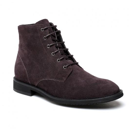 Chamaripa Verhoogde Schoenen bruin Suede leer heren laarzen met hak 6CM Langer