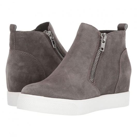 Chamaripa damessneakers met sleehak - grijze hoge sneakers voor dames met sleehak - aangepaste schoenen - 7 CM