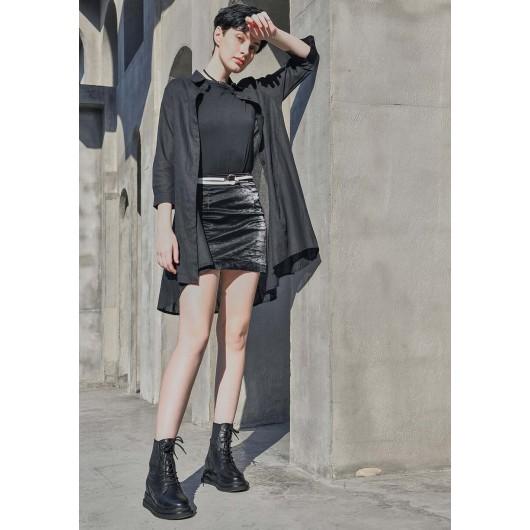 CHAMARIPA verhoogde schoenen zwarte leren laarzen met verborgen sleehakvoor dames 7 CM