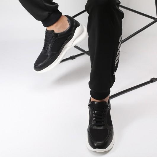 Chamaripa casual verhogende schoenen mannen heren schoenen hoge hak zwarte leren schoenen die je langer maken 7CM