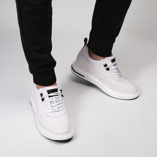 CHAMARIPA verhogende schoenen sneakers met verborgen sleehak wit leer schoenen die je langer maken 7.5CM