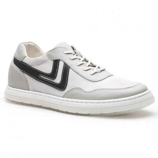 Chamaripa verhogende schoenen sneakers met verhoogde binnenzool hoge hakken voor heren wit 6CM