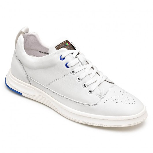 Chamaripa verhoogde schoenen herenschoenen met verhoogde hak witte leren sneaker 6CM
