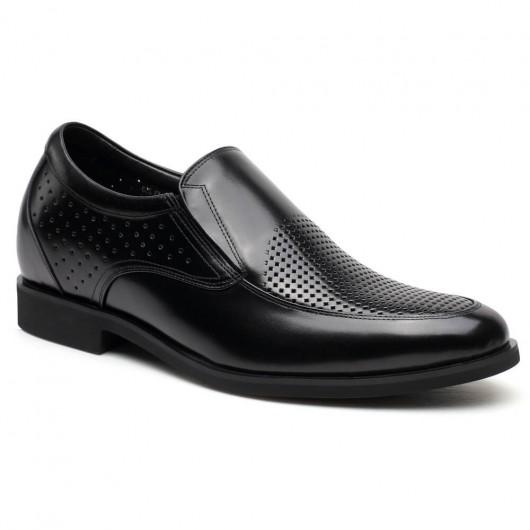 Chamaripa Verhogende Schoenen Hoge Hakken voor Mannen Zwart instappers 7 CM Langer