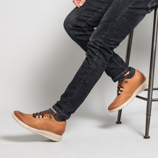 Chamaripa Verhogende Schoenen schoenverhoging Bruin leren sneakers heren 7 CM Langer