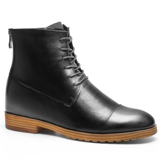 Chamaripa Verhogende Schoenen laarzen met hoge hak voor mannen verhoogde schoenen heren Zwart 7 CM Langer