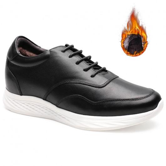 Chamaripa verhogende schoenen Warme fluwelen gevoerde elevator schoenen voor heren 7 CM zwart
