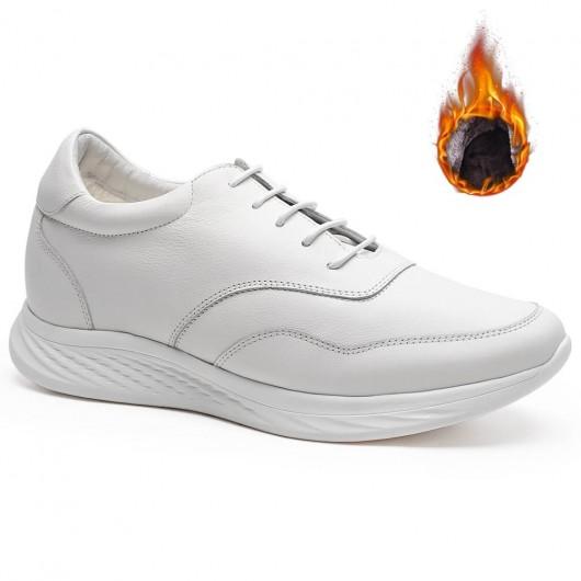 Chamaripa verhogende schoenen mannen heren schoenen met hoge hakken warme fluwelen gevoerde winterschoenen 7CM wit