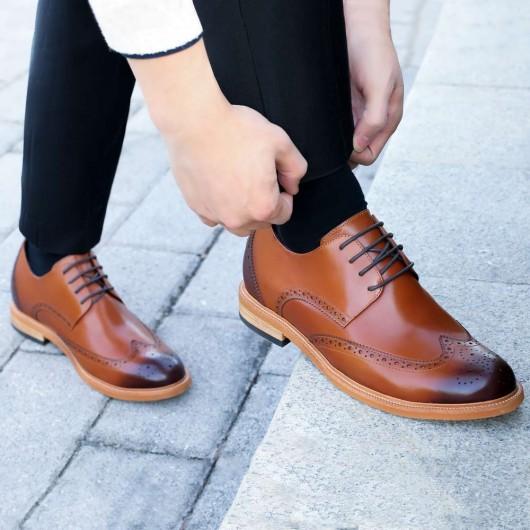 Chamaripa heren schoenen met verborgen hak Bruin nette herenschoenen Brogue 7 CM Langer