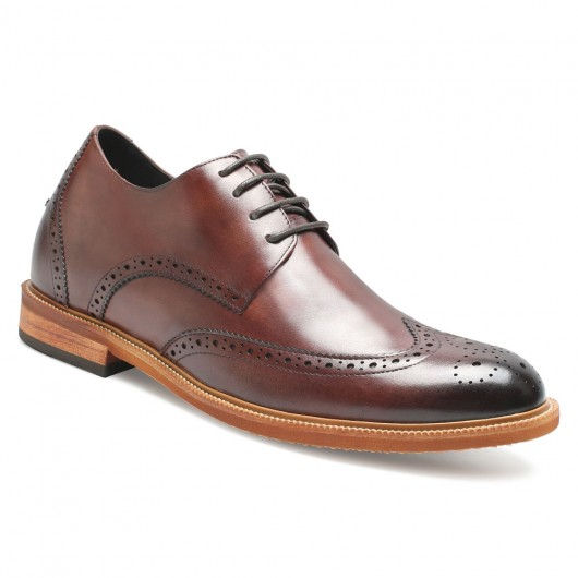 Chamaripa verhoogde schoenen heren schoenen met verborgen hak wijn rood 7 CM Langer