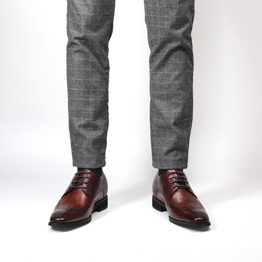 Chamaripa Verhoogde Schoenen heren schoenen met verborgen hak hoge herenschoenen bruin 7 CM Langer