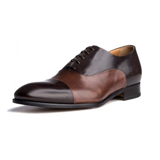 Chamaripa verhoogde schoenen mannen schoenen hoge hakken die je langer maken 7CM zakelijke schoenen bruin