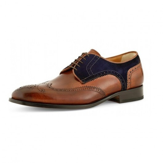Chamaripa Formal Height Increasing Shoes High Heel Men Dress Shoes Wingtip Brown Antique Suede Leather Shoes 7 CM / 2.76 Inches