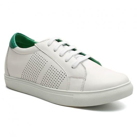 Chamaripa heren schoenen met verborgen hak onzichtbaar verhoogde schoenen Witte en groen 6 CM Langer