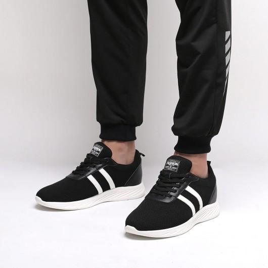 Chamaripa onzichtbaar verhoogde schoenen heren schoenen met verborgen hak sportschoenen met hak zwart +6 CM