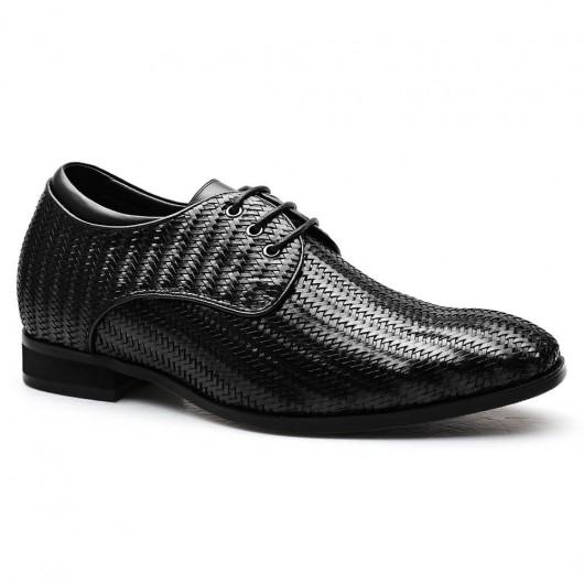 Chamaripa Verhogende Schoenen  zwart  op maat gemaakte schoenen heren handgemaakte italiaanse schoenen 7CM Langer