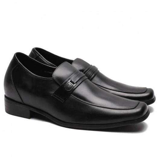 CHAMARIPA verhoogde schoenen zwarte leren loafers herenschoenen met verhoogde hak 7CM