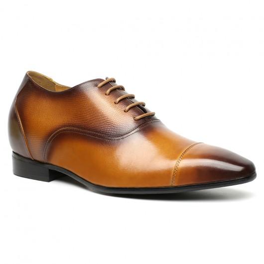 CHAMARIPA mannen schoenen met ingebouwde hak verhoogde schoenen Bruin veterschoenen 7.5 CM