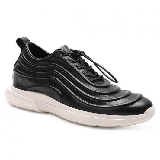 Chamaripa Verhogende Schoenen mannen op hoge hakken Zwart leren sneakers heren 6 CM Langer