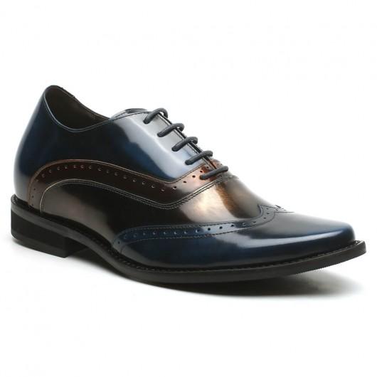 Chamaripa Verhogende Schoenen mannen schoenen met hak Blauw veterschoenen heren 7 CM Langer