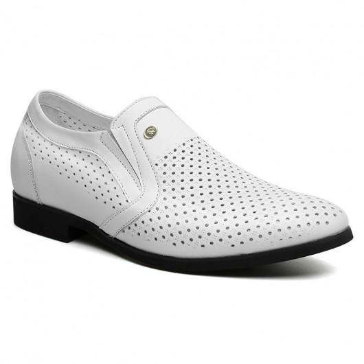 Chamaripa verhogende herenschoenen Hoge Hakken voor Mannen Sandalen zomerschoenen heren Witte 6 CM Langer