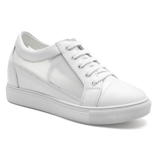 hidden heel shoes for women breathable white elevator sneaker get taller 7CM / 2.76 Inches
