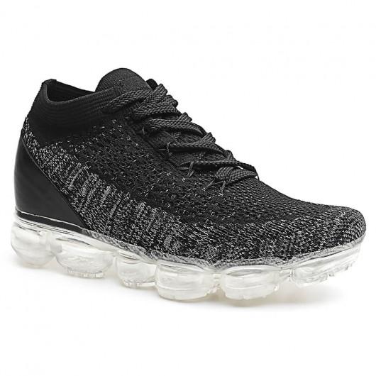 CHAMARIPA Dames Sneakers met Sleehak Air Flyknit schoenen voor dames Zwart & grijs 7CM Langer