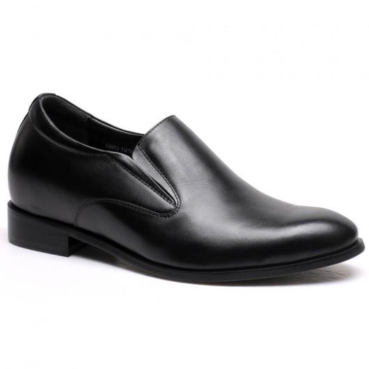 Chamaripa verhogende schoenen Zwart op maat gemaakte Heren Schoenen met Hoge Hak 7 CM Langer