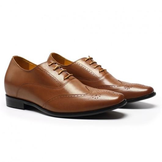 CHAMARIPA verhogende schoenen herenschoenen met verhoogde hak  bruin lederen business schoenen 7CM
