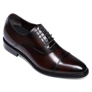 Verhogende Schoenen -Sneakers Met Verhoogde Binnenzool - Bruine Leren Vrijetijdsschoenen 6 CM