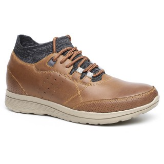 Height Increasing Elevator Shoes Casual Men Lifting Shoes Brown 7CM /2.76 Inches