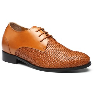 Custom Men Taller Shoes Woven Leather Height Increasing Dress Shoes