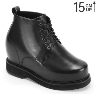 Black Cow LeathAer Increase Boot With Lifts For Me