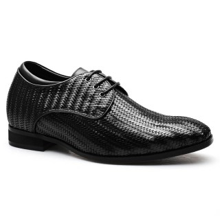 Customized Men Taller Shoes Hidden Heel Lift Shoes Woven Leather Elevator Shoes 7 CM /2.76 Inches
