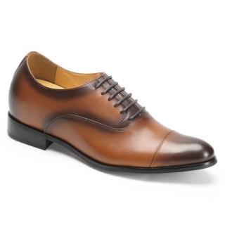 Look Taller 7CM Fashion Gentlemen Brown Wedding Dress Height Increasing Shoes Free Shipping