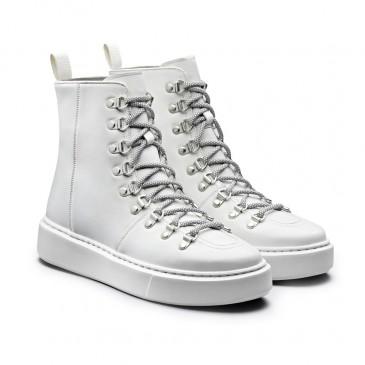 CHAMARIPA dames sneakers met verhoogde hak - sneakers met verborgen sleehak - witte leren hoge sneakers voor dames 7CM